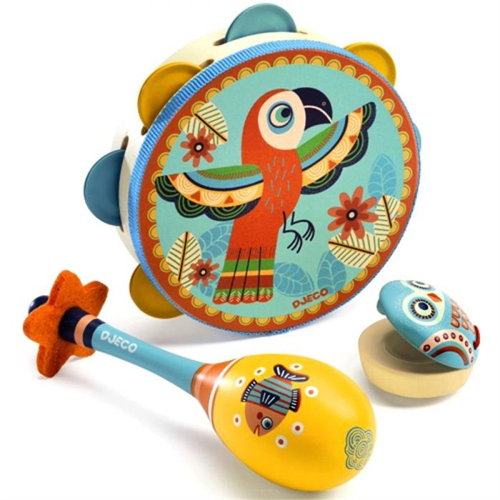 Set of 3 instruments: Tambourine, maracas, castanet